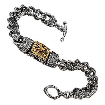 B347 ~ Sterling Silver Medieval Byzantine Cross Bracelet