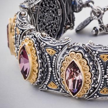 B349 ~ Sterling & Gold Plated Silver with Swarovski - Medieval Byzantine Bracelet