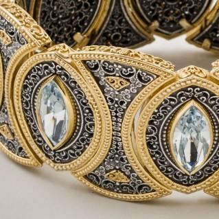B350 ~ Sterling & Gold Plated Silver with Swarovski - Medieval Byzantine Bracelet