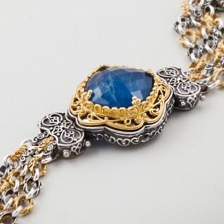 B351 ~ Sterling Silver with Gemstone - Medieval Byzantine Bracelet