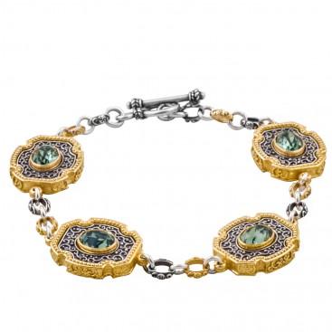 B352 ~ Silver and Swarovski - Medieval Byzantine Bracelet