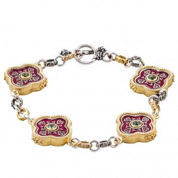 B353 ~ Silver, Enamel and Swarovski - Medieval Byzantine Bracelet