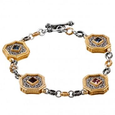 B354 ~ Silver and Swarovski - Medieval Byzantine Bracelet