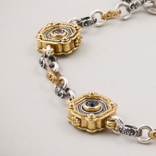 B356 ~ Silver and Swarovski - Medieval Byzantine Bracelet