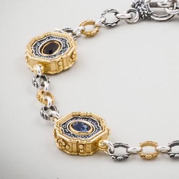 B357 ~ Sterling Silver and Swarovski - Medieval Byzantine Bracelet