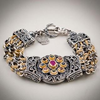 B358 ~ Sterling Silver, Ruby and Swarovski - Medieval Byzantine Bracelet