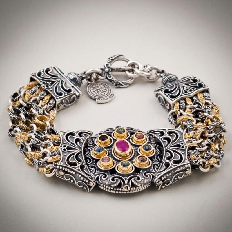 B358 Sterling Silver Ruby And Swarovski Meval Byzantine Bracelet