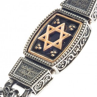 B360 ~ Sterling Silver & Enamel Star of David Chain Bracelet