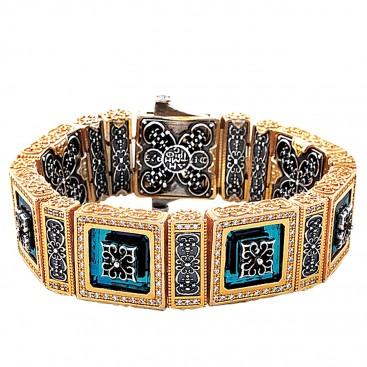 B361 ~ Sterling Silver and Swarovski - Medieval Byzantine Bracelet
