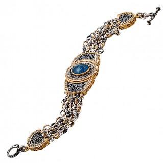 B362 ~ Sterling Silver and Apatite - Medieval Byzantine Multi Chain Bracelet