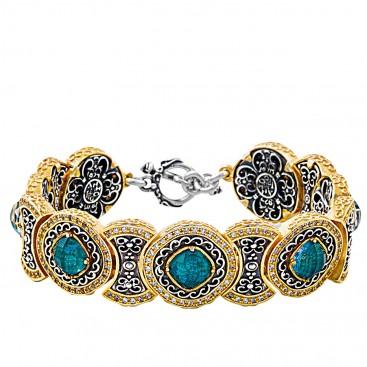 B363 ~ Sterling Silver Medieval Doublet Link Bracelet with Quartz over Chrysocolla
