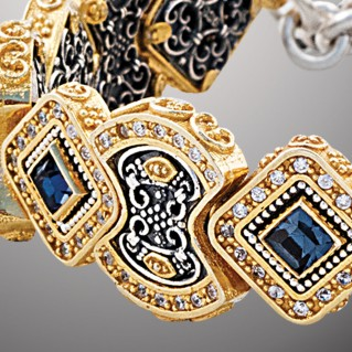 B364 ~ Sterling Silver and Swarovski - Medieval Byzantine Link Bracelet