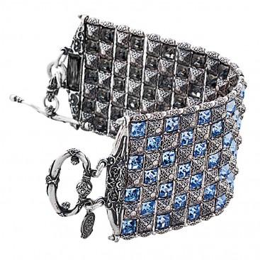 B365 ~ Sterling Silver and Swarovski - Medieval Byzantine Bracelet