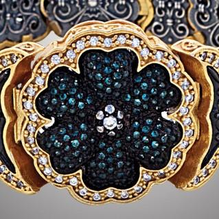 B367 ~ Sterling Silver and Zircon Bangle Flower Bracelet