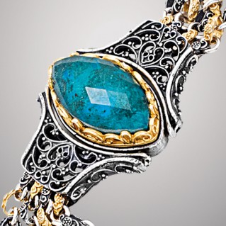 B368 ~ Sterling Silver Medieval Doublet Chain Bracelet with Quartz over Gemstone