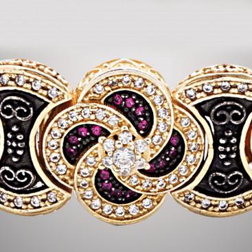 B371 ~ Sterling Silver and Zircon - Medieval Byzantine Link Bracelet