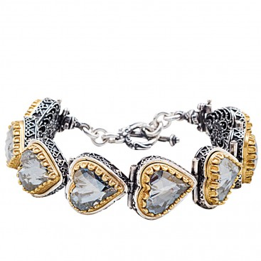 B373 ~ Sterling Silver Heart Link Bracelet with Swarovski