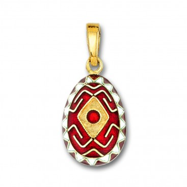 Rhombus and Meander Egg Pendant ~ 14K Solid Gold and Hot Enamel - A/Medium