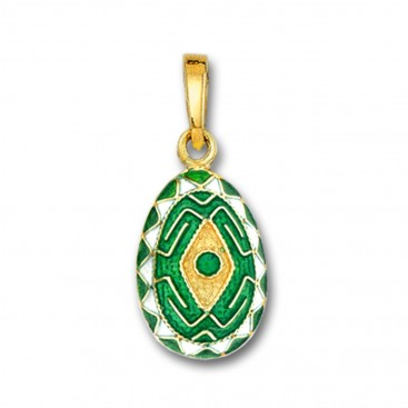 Rhombus and Meander Egg Pendant ~ 14K Solid Gold and Hot Enamel - A/Small