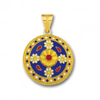18K Solid Gold and Blue Enamel Ancient Floral Pendant - L