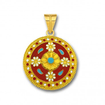 18K Solid Gold and Red Enamel Ancient Floral Pendant - L