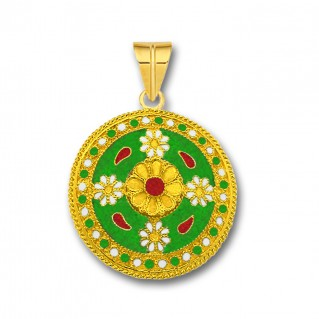 18K Solid Gold and Green Enamel Ancient Floral Pendant - L
