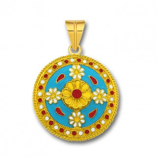 18K Solid Gold and Turquoise Enamel Ancient Floral Pendant - L