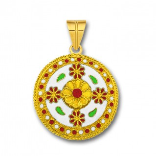 18K Solid Gold and White Enamel Ancient Floral Pendant - L