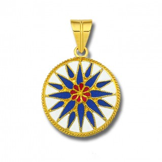 Macedonian Vergina Sun ~ 18K Solid Yellow Gold and Blue Enamel Pendant - L
