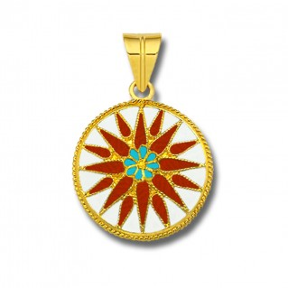 Macedonian Vergina Sun ~ 18K Solid Yellow Gold and Red Enamel Pendant - L
