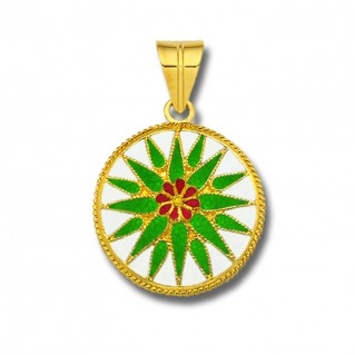 Macedonian Vergina Sun ~ 18K Solid Yellow Gold and Green Enamel Pendant - L