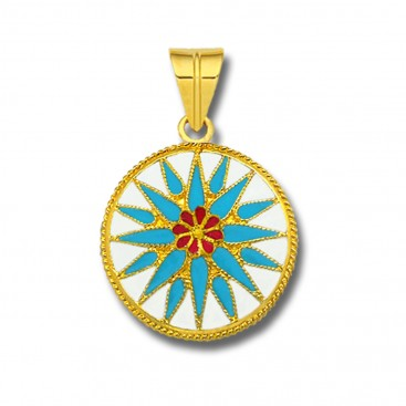 Macedonian Vergina Sun ~ 18K Solid Yellow Gold and Turquoise Enamel Pendant - L