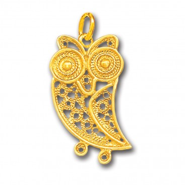 Wise Little Owl ~ 14K Solid Gold Filigree Pendant - A/S