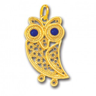 Wise Little Owl ~ 14K Solid Gold and Enamel Filigree Pendant - A/L