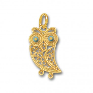 Wise Little Owl ~ 14K Solid Gold and Enamel Filigree Pendant - A/S