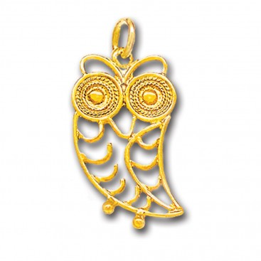 Wise Little Owl ~ 14K Solid Gold Filigree Pendant - B/L