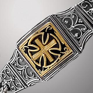 B377 ~ Sterling Silver Medieval-Byzantine Cross Bracelet