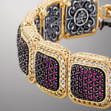 B379 ~ Sterling Silver and Zircon - Medieval Byzantine Link Bracelet