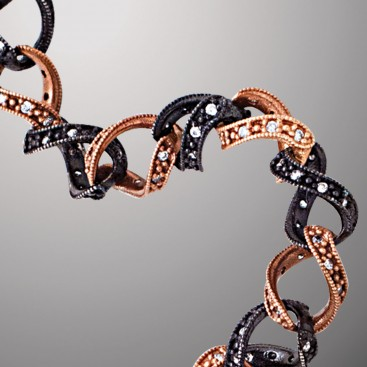 B380 ~ Black and Rose Gold Sterling Silver Two-Tone Bracelet