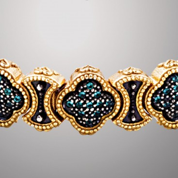 B384 ~ Sterling Silver & Zircons - Medieval Byzantine Quatrefoil Bracelet