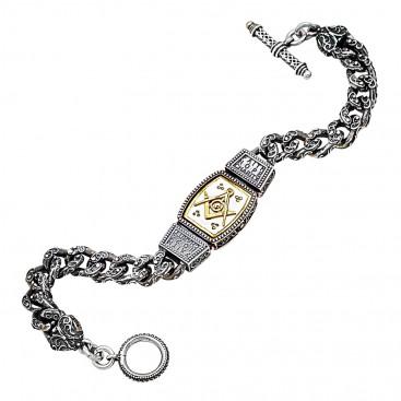 B388 ~ Sterling Silver & Enamel Masonic Chain Bracelet