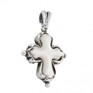 ST103 ~ Sterling Silver and Mother of Pearl - Medieval Byzantine Cross Pendant