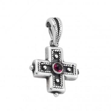ST14 ~ Sterling Silver and Garnet - Medieval Byzantine Cross Pendant