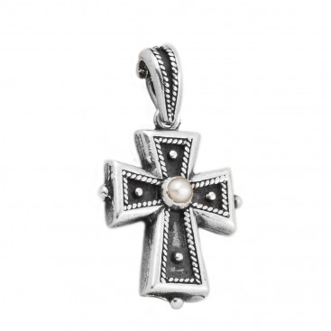 ST15 ~ Sterling Silver and Pearl - Medieval Byzantine Cross Pendant