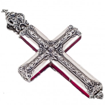 ST201 ~ Sterling Silver and Murano - Medieval Byzantine Cross Pendant