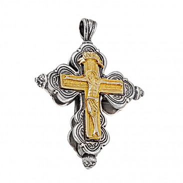ST 215 ~ Sterling Silver Byzantine Crucifix Cross Large Pendant