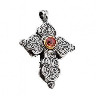ST216 ~ Sterling Silver with Garnet - Medieval Byzantine Cross Pendant