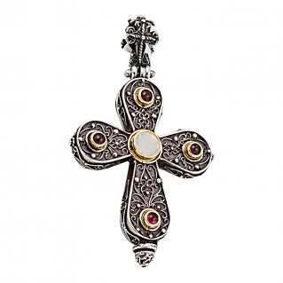 ST217 ~ Sterling & Gold Plated Silver with Gemstones - Medieval Byzantine Cross Pendant