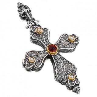 ST218 ~ Sterling & Gold Plated Silver with Gemstones - Medieval Byzantine Cross Pendant