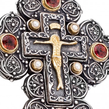 ST219 ~ Sterling Silver & Stones Large Byzantine Crucifix Cross Pendant